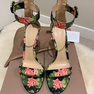 Gianvito Rossi Floral-Print Ankle-Strap Sandals
